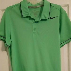 New NIKE Tennis Green Navy Polo Shirt Men's Large